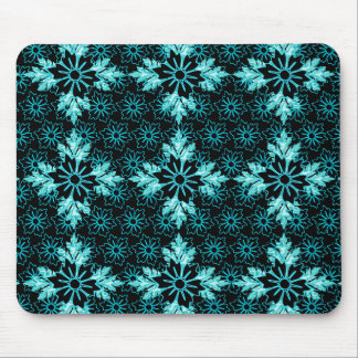 Lustrous Aqua Teal and Black Flower Mouse Pad