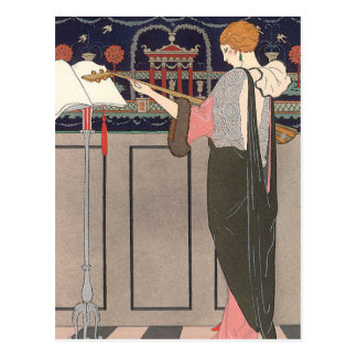 Lute Player by George Barbier Post Cards