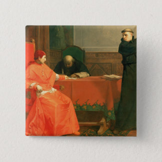 Luther in front of Cardinal Cajetan 15 Cm Square Badge