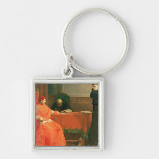 Luther in front of Cardinal Cajetan Silver-Colored Square Key Ring