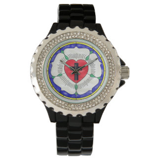 Luther Rose Stained Glass Rhinestone Enamel Watch