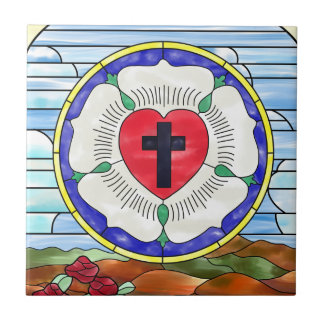 Luther Seal Stained Glass Window Small Square Tile