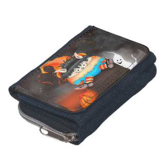 LUTIN ALIEN  CARTOON Denim Wallet with Coin Purse