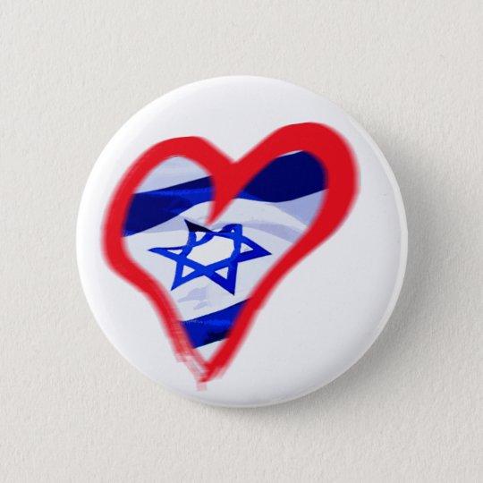 Luv Israel Heart 6 Cm Round Badge