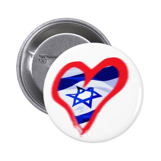 Luv Israel Heart Pinback Buttons