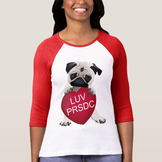 LUV PRSDC Pug Rescue of San Diego Co. Valentines T-Shirt