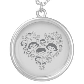 Luv Round Pendant Necklace