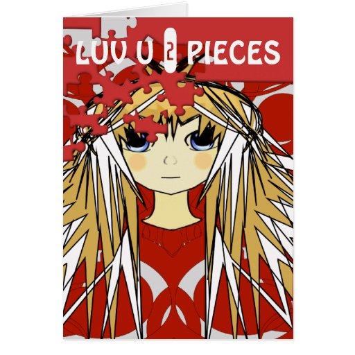 Luv U 2 Pieces Ultra Cute Anime Girl Cards