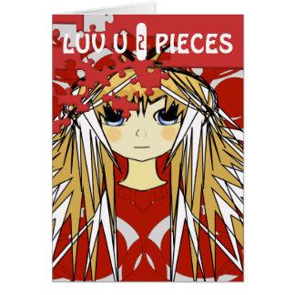Luv U 2 Pieces Ultra Cute Anime Girl Greeting Card