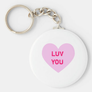 LUV YOU Pink Conversation Heart Basic Round Button Key Ring