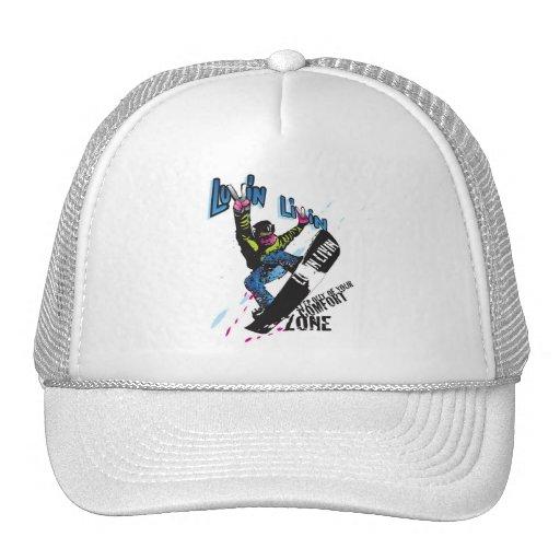 Luvin Livin Snow Boarder Graphic Trucker Hat