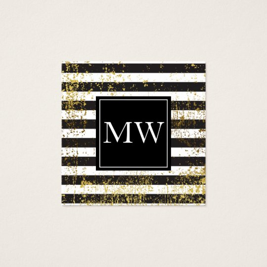 Lux Gold Grunge Monogram Black White Stripes Square Business Card