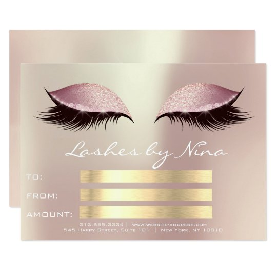 Lux Lashes Pink Rose Gold Makeup Certificate Gift1