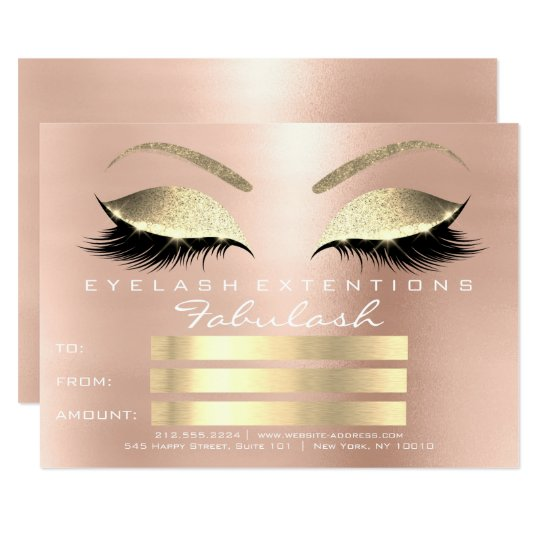 Lux Lashes Pink Rose Gold Makeup Certificate Gift
