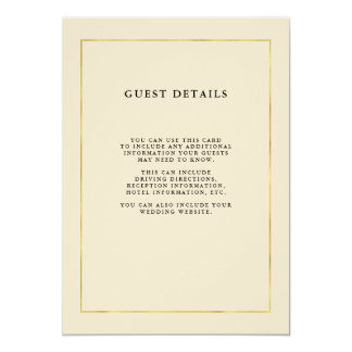 Luxe Bisque with Faux Gold | Guest Details Card