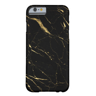 Luxe Black and Gold Marble Barely There iPhone 6 Case
