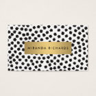 Luxe Black Confetti Dots II with Gold Bar Business Card