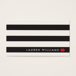 Luxe Black/Ivory Stripes Red Lips Makeup Artist Business Card