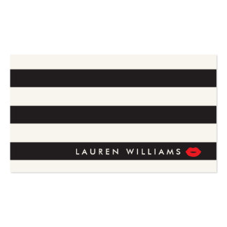Luxe Black/Ivory Stripes Red Lips Makeup Artist Pack Of Standard Business Cards