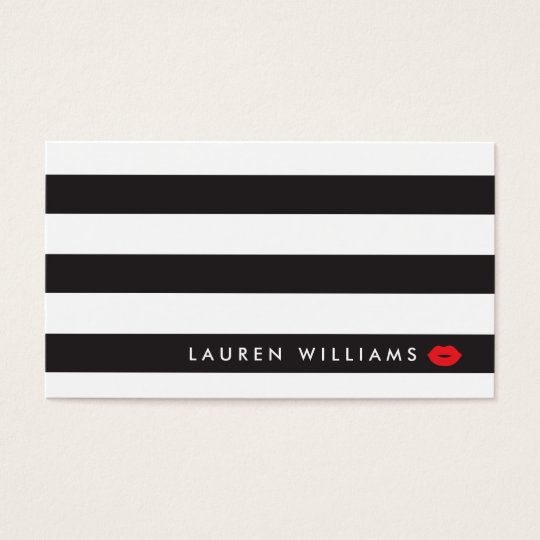 Luxe Black/White Stripes Red Lips Makeup Artist Business