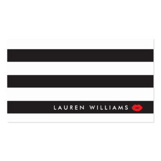 Luxe Black/White Stripes Red Lips Makeup Artist Pack Of Standard Business Cards