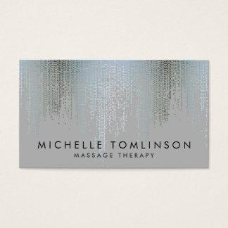 Luxe Blue Silver Confetti Rain Pattern