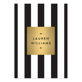 Luxe Bold Black and White Stripes Gold Box Large Pack Of Chubby Business Cards