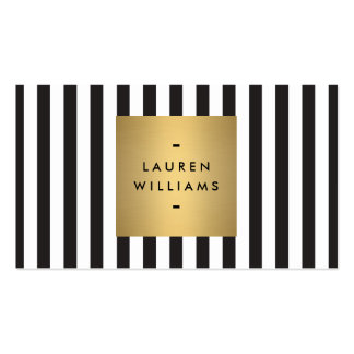 Luxe Bold Black and White Stripes with Gold Box II Pack Of Standard Business Cards