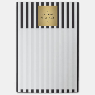 Luxe Bold Black and White Stripes with Gold Box Post-it Notes