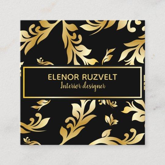 Luxe Elegant Floral Black Gold Business Card Zazzle Co Uk