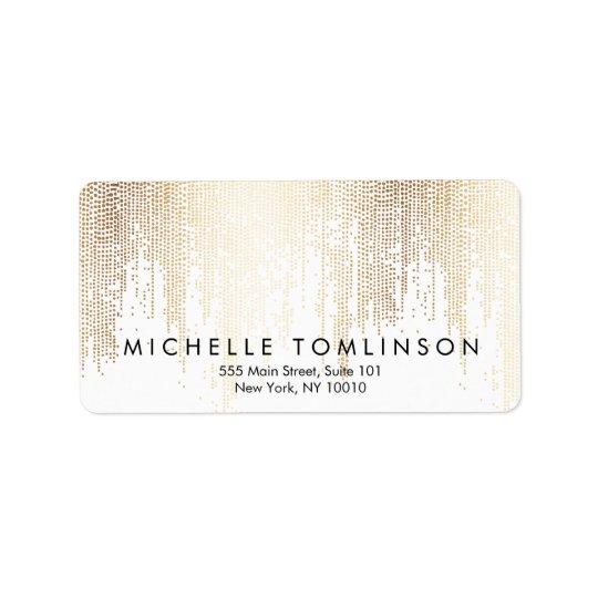 Luxe Faux Gold Confetti Rain Pattern Address Label