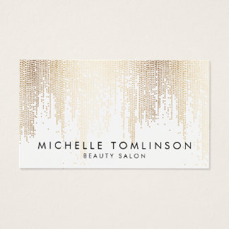 Luxe Faux Gold Confetti Rain Pattern Business Card