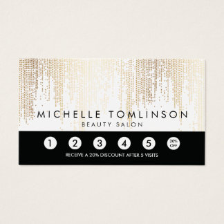 Luxe Faux Gold Confetti Rain Pattern Loyalty Card