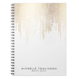 Luxe Faux Gold Confetti Rain Pattern Notebooks