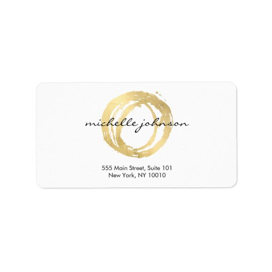 Luxe Faux Gold Painted Circle Designer Logo Address