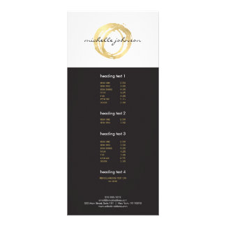 Luxe Faux Gold Painted Circle Designer Logo Customized Rack Card