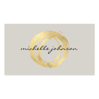 Luxe Faux Gold Painted Circle Designer Logo on Tan Pack Of Standard Business Cards