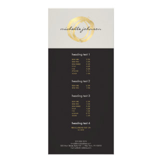 Luxe Faux Gold Painted Circle Designer Logo on Tan Personalised Rack Card