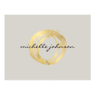 Luxe Faux Gold Painted Circle Designer Logo on Tan Postcard