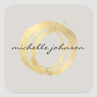 Luxe Faux Gold Painted Circle Designer Logo on Tan Square Sticker