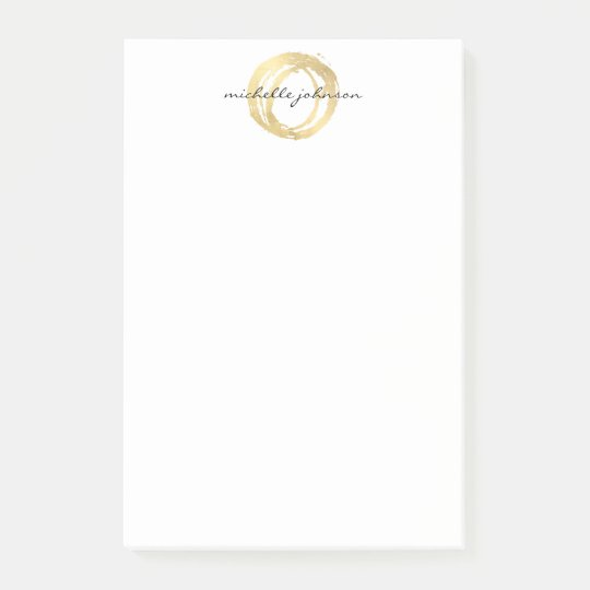 Luxe Faux Gold Painted Circle Designer Logo Post-it