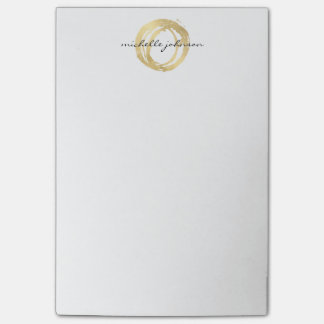 Luxe Faux Gold Painted Circle Designer Logo Post-it Notes