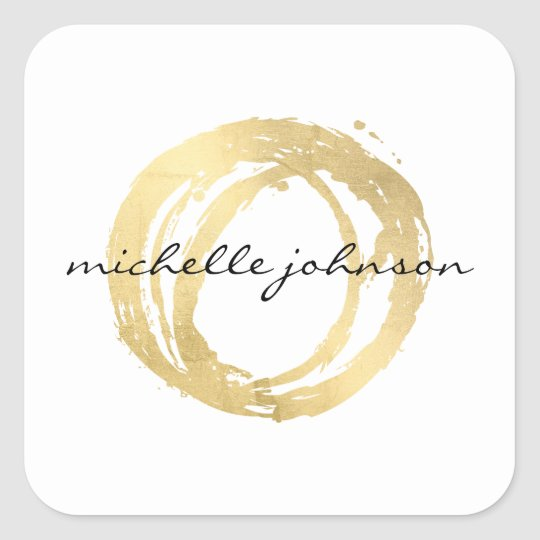 Luxe Faux Gold Painted Circle Designer Logo Square
