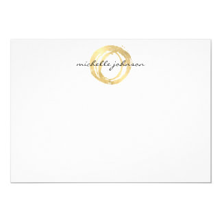 Luxe Faux Gold Painted Circle Flat Notecard 13 Cm X 18 Cm Invitation Card
