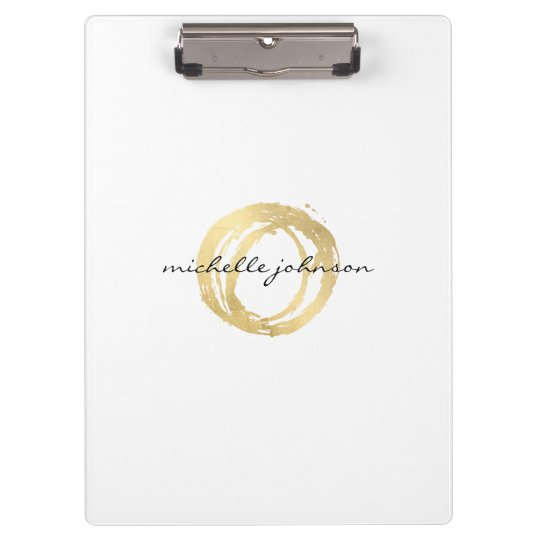 Luxe Faux Gold Painted Circle Personalised Clipboard
