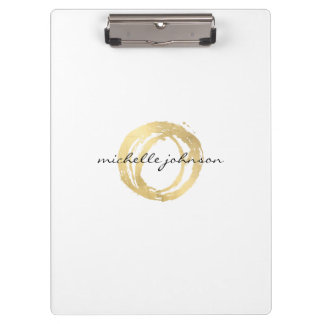 Luxe Faux Gold Painted Circle Personalized Clipboards
