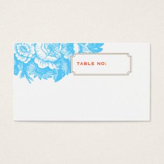 Luxe Floral Wedding Escort Card in Blue & Orange
