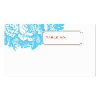 Luxe Floral Wedding Escort Card in Blue & Orange Pack Of Standard Business Cards