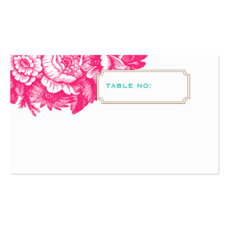 Luxe Floral Wedding Escort Card in Pink & Blue Double-Sided Standard Business Cards (Pack Of 100)