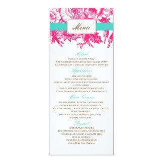 Luxe Floral Wedding Menu in Pink & Blue 10 Cm X 24 Cm Invitation Card